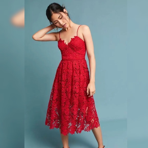 b7328abf4640 Dresses | Self Portrait Style Red Lace Cocktail Midi Dress | Poshmark